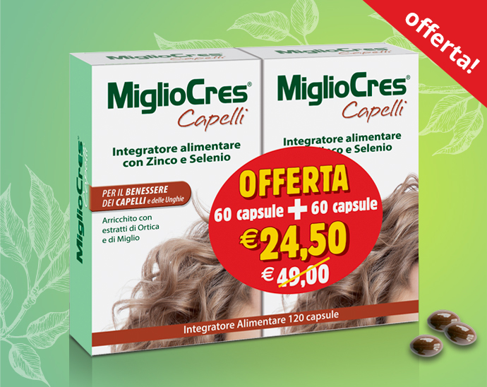 MiglioCres Capelli – Integratore Anticaduta per Capelli in Capsule - Offerta 60+60
